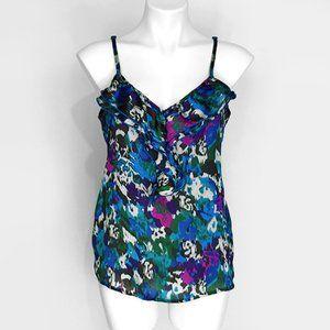 Ali & Kris Ruffle Ikat Print Dressy Tank Top L